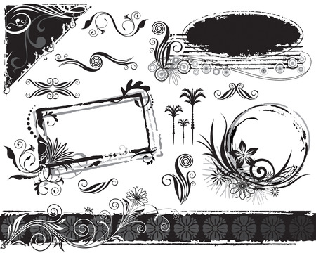 Black and white grunge floral elements, vector layered. Illustration