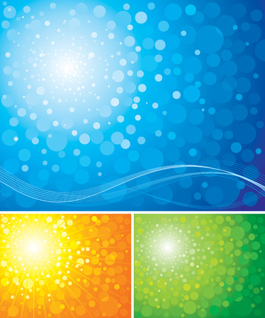 radiance: Three different colors of blur radiance background, vector layered. Illustration
