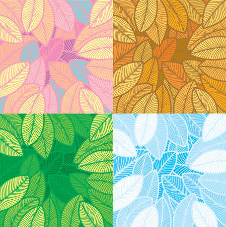 Four seasons foliage pattern design. Layered, No gradient fill. Vector