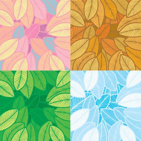 spachteln: Vier Jahreszeiten Laub Muster Design. Layered, Nr. Gradienten f�llen. Illustration