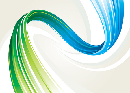 Abstract flowing background of blue and green twisted, vector layered. Vector