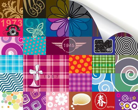 Retro pattern and corner paper roll(can delete)  design, vector layered. Stock Vector - 4032102