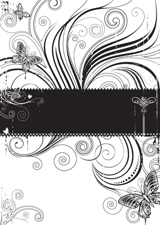 Butterfly Floral,  Black and white floral and butterfly pattern, vector layered.  Illustration