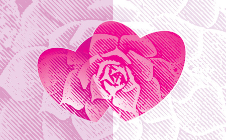 Love shape of Floral halftone grunge design, greeting card design, vector layered. Vector