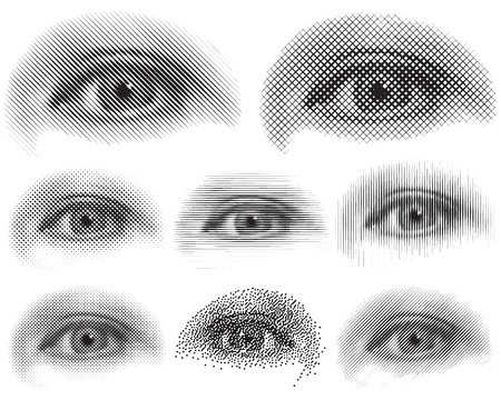 visual effect: Different style halftone effect of Eye shapes,  Illustration