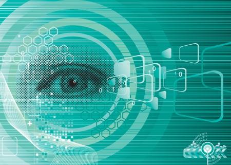 sensores: Ojo digital de dise�o para la Seguridad, de capas vectoriales.