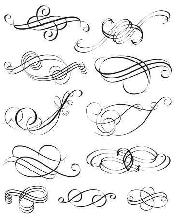set of Calligraphic style element design, vector layered.