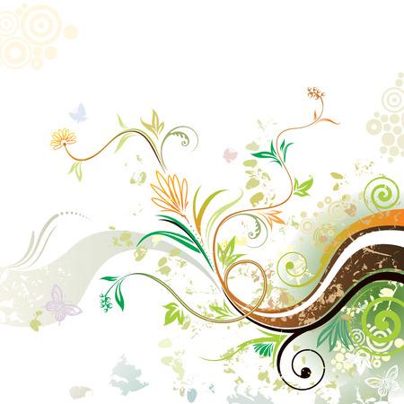 Spring. Grunge floral design of spring, vector layered. Illustration
