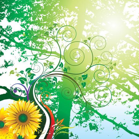 Summer.  Grunge floral design of Summer, vector layered. Stock Vector - 4344971