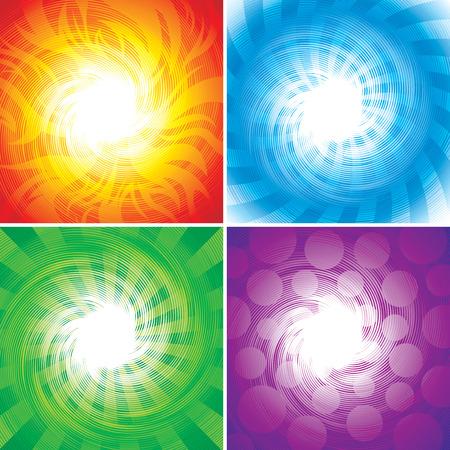 Quattro serie di elementi di sfondo, illustrazione vettoriale strati.