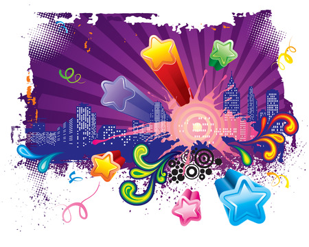 celebratory event: Lets go party, Urban celebration design, vector layered.