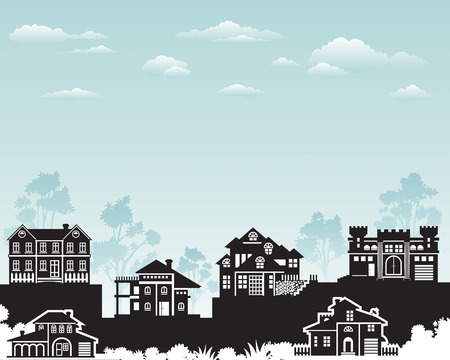 lak�hely: Residence on hill with beautiful nature, vector layered.