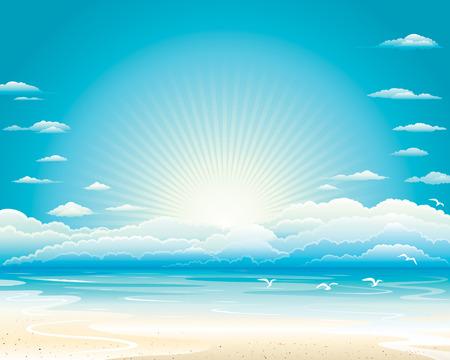 Océano paisaje, ilustración vectorial capas.