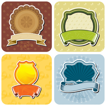 Set of products labels design, vector layered. No gradient fill. Vector