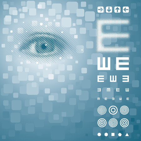 Eye background with vision test chart. Vector layered. Stock Vector - 4550700