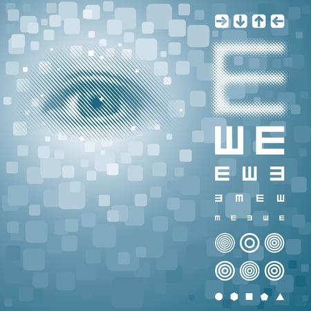 sehkraft: Hintergrund mit Eye Vision Test Chart. Vector Schichten.