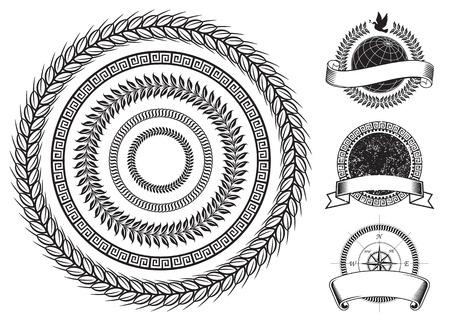 Círculo marco emblemas y elementos de diseño, capas de vectores.