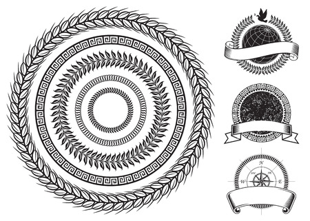Circle frame and emblems elements design, Vector layered. Vector