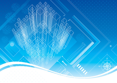 Abstract architecture blueprint design. Vector layered. Illustration
