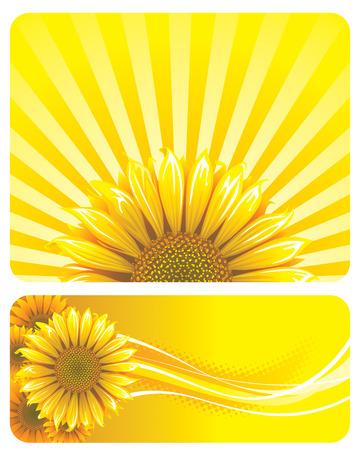 Zonnebloem en gele achtergrond ontwerp. Vector lagen.