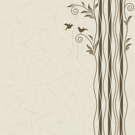 Abstract albero con uccelli datazione, livelli vettoriali.