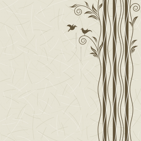 trunks: Abstract tree with birds dating, vector layered.
