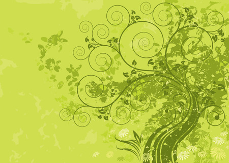 Green abstract nature with grunge background. Vector layered. Stock Vector - 4665947