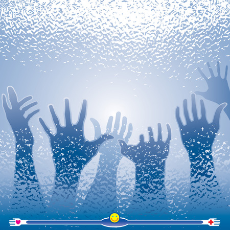 drowning: Helping hands and window glass effects. Vector layered.