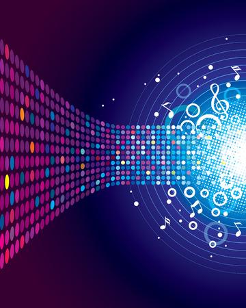 Sonido de la Música, la música de fondo concepto. Capas vectoriales.