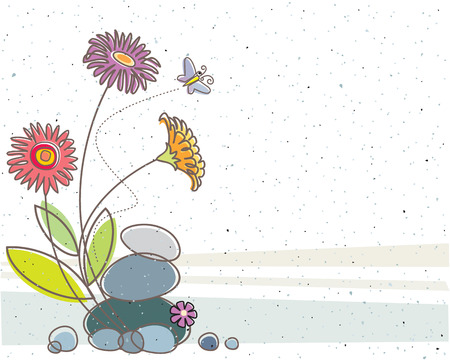Floral design with texture background. Vector layered.