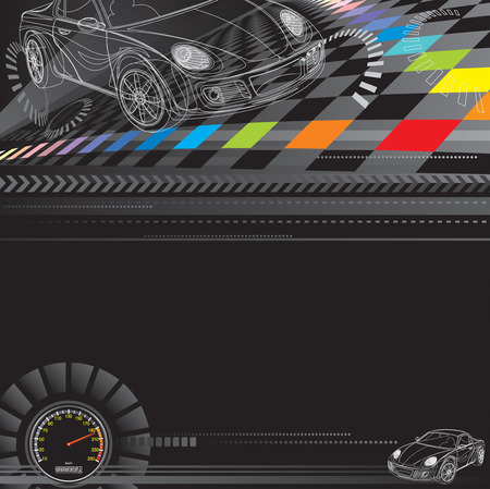 Car racing design in black. Vector layered. Ilustrace