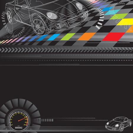gagant: Voiture de course design en noir. Vector couches.