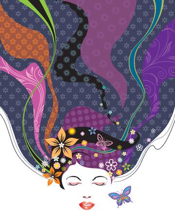 beauty model: Vector illustration of Floral pattern hairstyle design. Illustration