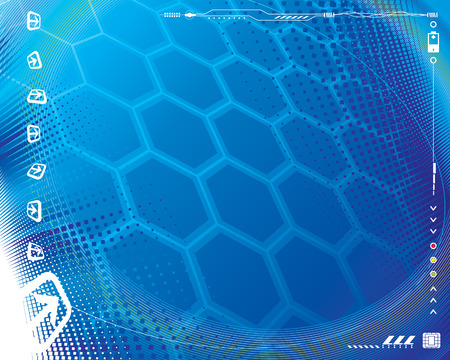 Tech Blue, Abstract technology background plus border decoration. Vector