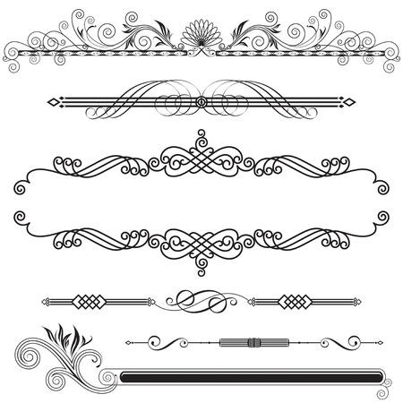 Set van Horizontale Ornamental design elementen, vector illustratie.