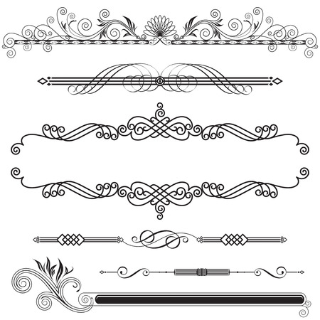 horizontal: Set of Horizontal Ornamental design elements, vector illustration. Illustration