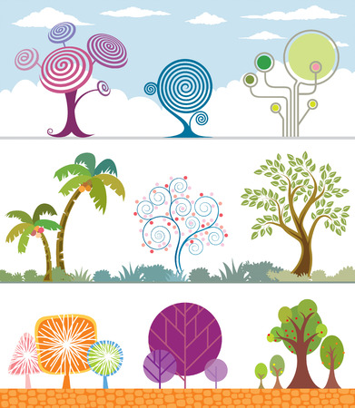 Different shape of Trees Collection. Vector Layered. Vector