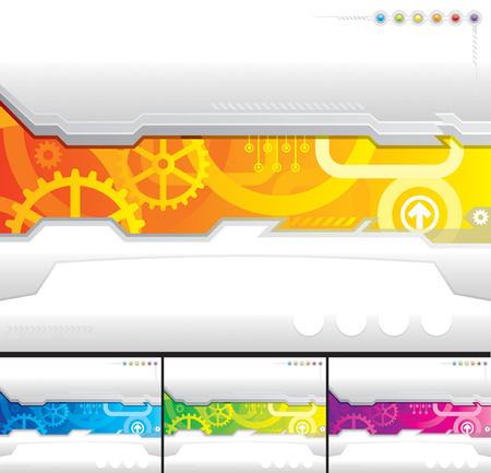 automated: Set of technology template background, vector layered.