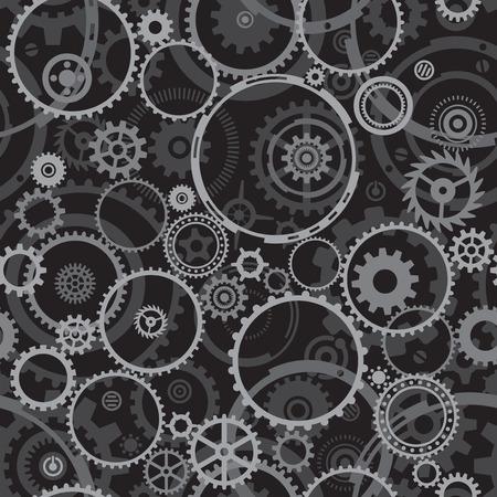 Seamless both side Cogwheels pattern, vector layered. Stock Vector - 5507505