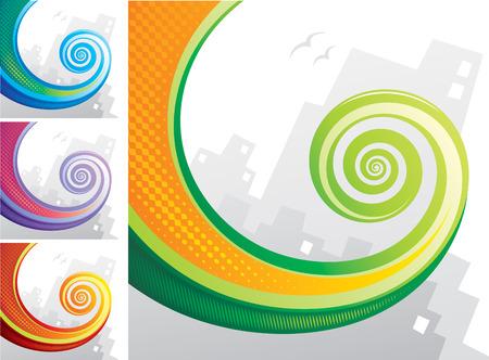 spiral: Kleurrijke spiraal kameleon staart met stad achtergrond. Vector gelaagd.