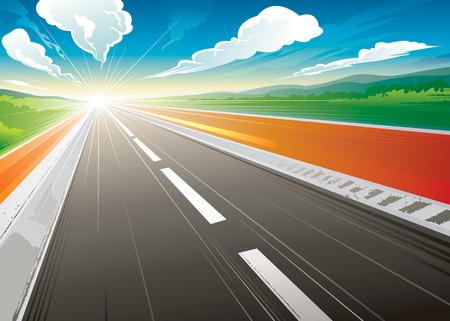 朝道路速度の風景です。ベクトル イラスト層します。