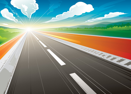 Road speed landscape in the morning. vector illustration layered. Vector