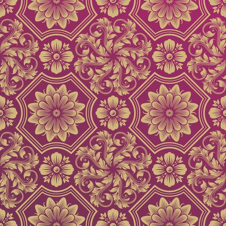 Seamless Golden Floral Damask Pattern, vector illustration layered.