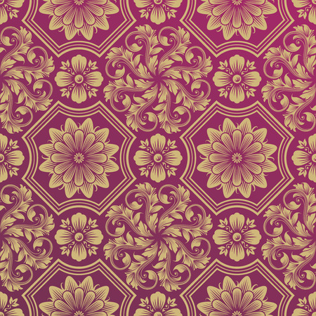 Seamless Golden Floral Damask Pattern, vector illustration layered. Vector