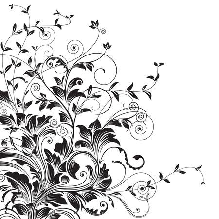 Flourishes. Floral drawing of corner decorative background. vector illustration layered. 矢量图像