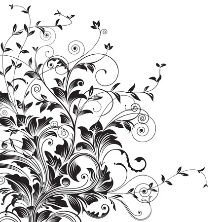 Flourishes. Floral drawing of corner decorative background. vector illustration layered. Vector
