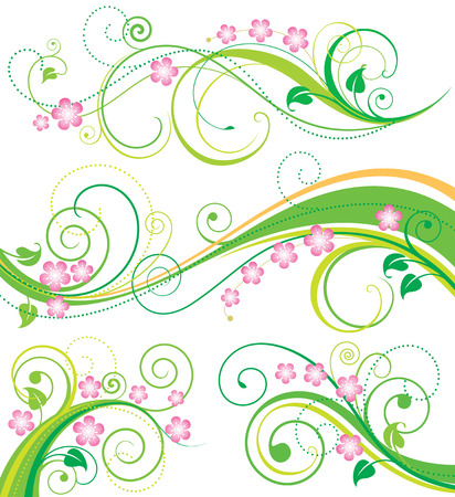 Set of spring floral ornament drawing. vector illustration layered. 矢量图像