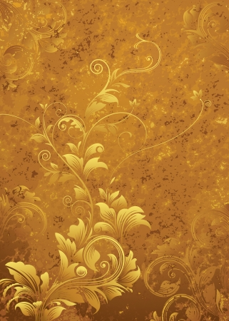 Golden floral pattern, grunge textured background Vector