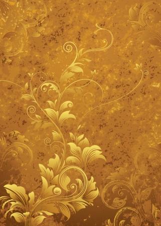 Golden floral pattern, grunge textured background