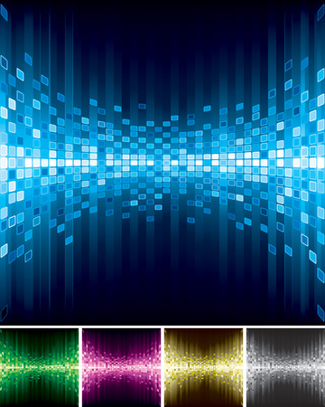 Set of Abstract digital background, pixellated, frequency and brightness.